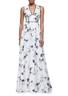 Lela Rose Sleeveless V-Neck Metallic-Floral Gown