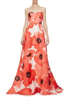 Lela Rose Strapless Oversized Floral-Print Gown