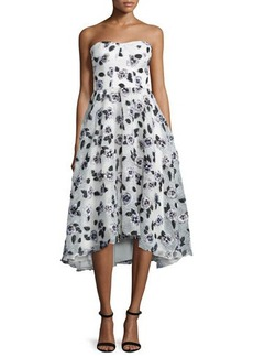 Lela Rose Strapless Stamped-Floral Dress