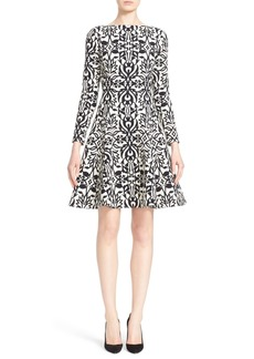 Lela Rose Stretch Jacquard Fit & Flare Dress