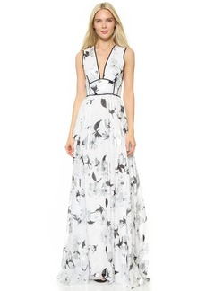 Lela Rose V Neck Gown