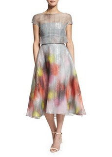 Lela Rose Watercolor Short-Sleeve Backless Dress