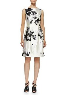 Lela Rose Watercolor Silk Sheath Dress