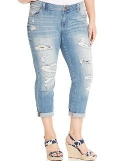 Lucky Brand Jeans Trendy Plus Size Ripped Cuffed Boyfriend Jeans