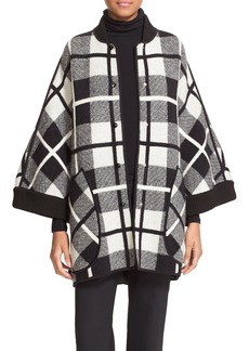 M Missoni Madras Jacquard Wool Snap Front Cape