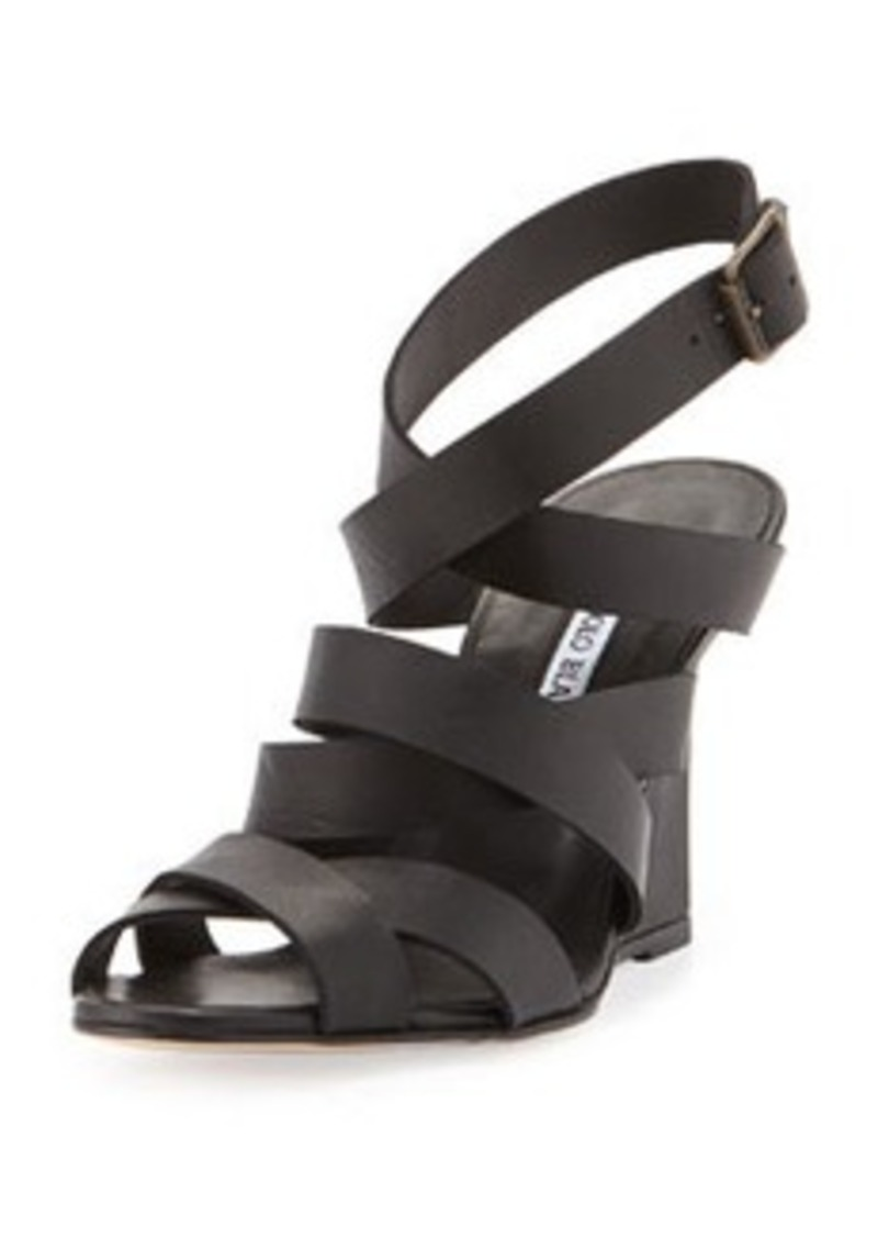 Manolo Blahnik Avola Strappy Crisscross Wedge