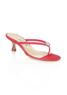 Manolo Blahnik Dole Crystal Thong Sandals