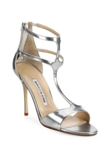 Manolo Blahnik Patent Leather T-Strap Sandals