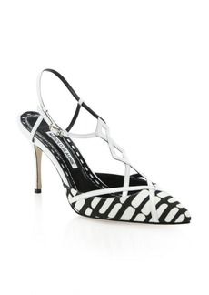 Manolo Blahnik Textile & Leather T-Strap Slingback Pumps