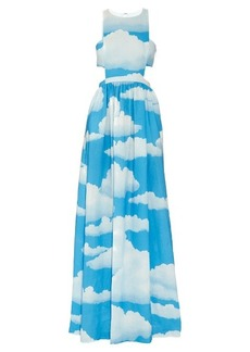 Mara Hoffman Cloud-print linen racer-back maxi dress