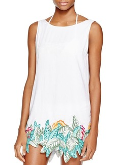 Mara Hoffman Leaf-Embroidered Dress Swim Cover Up