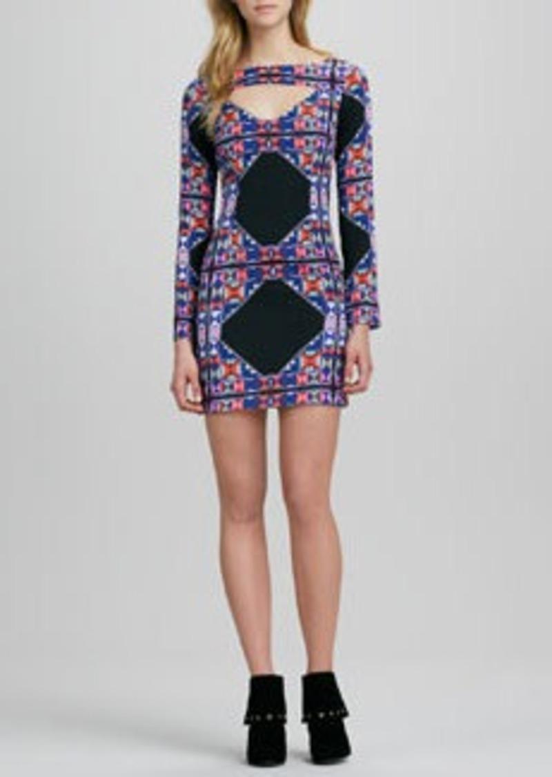 Mara Hoffman Printed Long-Sleeve Dress with Cutout
