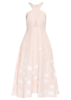 Mara Hoffman Star-embroidered cross-front midi dress