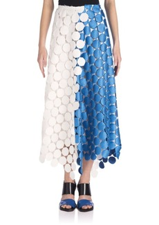 Marni Colorblock Dot-Print Macrame Midi Skirt