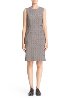 Max Mara 'Cesy' Lambskin Leather Trim Wool Jersey Sheath Dress