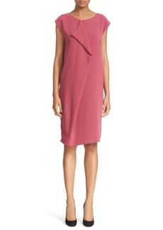 Max Mara 'Panetto' Front Ruffle Cady Shift Dress