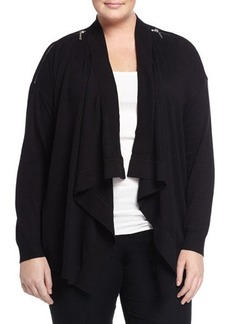 MICHAEL Michael Kors Plus Zip-Shoulder Draped Cardigan