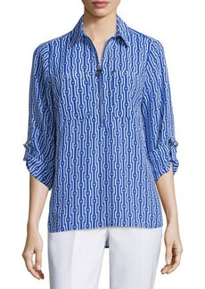 MICHAEL Michael Kors 3/4-Sleeve Diamond-Print High-Low Blouse