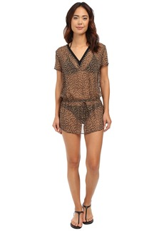 MICHAEL Michael Kors Abstract Jaguar Deep-V Cover-Up Tunic