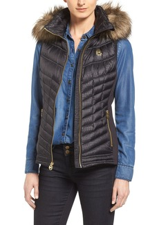 MICHAEL Michael Kors Embossed Mixed Media Down Vest with Detachable Faux Fur Trim Hood (Regular & Petite)