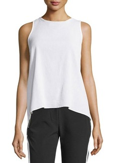 MICHAEL Michael Kors Golden-Trim Sheer Sleeveless Crepe Blouse