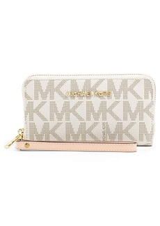 MICHAEL MICHAEL KORS Jet Set Logo Faux Leather Wristlet