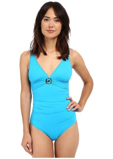 MICHAEL Michael Kors Logo Ring Shirred Maillot One-Piece