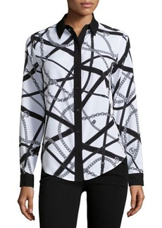 MICHAEL Michael Kors Long-Sleeve Button-Down Blouse w/Chain Link and Belt Print