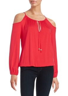 MICHAEL MICHAEL KORS Pleated Cold Shoulder Top
