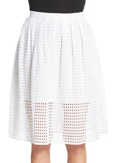 MICHAEL MICHAEL KORS Pleated Cotton Eyelet Skirt