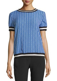 MICHAEL Michael Kors Short-Sleeve Diamond-Print Rib-Trim Tee
