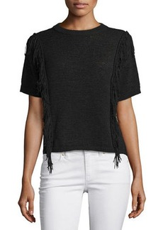 MICHAEL Michael Kors Short-Sleeve Fringe-Trim Sweater  Short-Sleeve Fringe-Trim Sweater