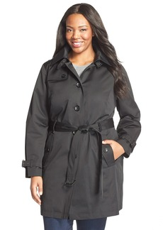 MICHAEL Michael Kors Single Breasted Raincoat (Plus Size)