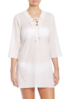 MICHAEL MICHAEL KORS Solids Lace-Up Coverup