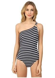 MICHAEL Michael Kors Sophia Stripe One Shoulder Maillot w/ Hardware