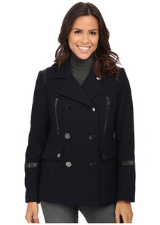 MICHAEL Michael Kors Wool Peacoat w/ Faux Leather