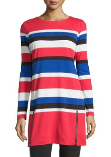 MICHAEL Michael Kors Zip-Detail Striped Knit Dress