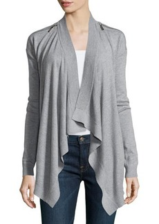 MICHAEL Michael Kors Zip-Shoulder Flyaway Cardigan
