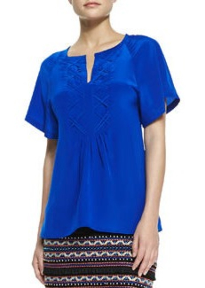 Nanette Lepore Fearless Split-Neck Stitch-Pleat Top   Fearless Split-Neck Stitch-Pleat Top
