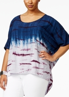 Nanette by Nanette Lepore Plus Size Tie-Dyed High-Low Top, Only at Macy's