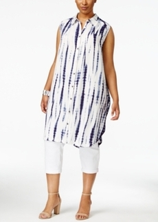 Nanette by Nanette Lepore Plus Size Tie-Dyed Shirtdress, Only at Macy's