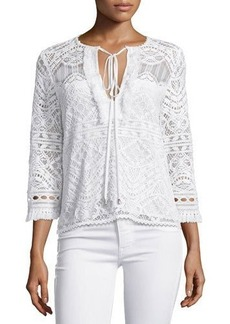 Nanette Lepore 3/4-Sleeve Lace Embroidered Top  3/4-Sleeve Lace Embroidered Top