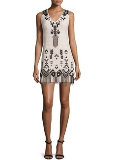 Nanette Lepore Embroidered Sheath Dress W/Fringe