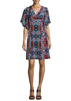 Nanette Lepore Flutter-Sleeve Floral-Print Silk Dress