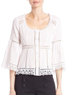 Nanette Lepore Palm Pleated Cotton Top