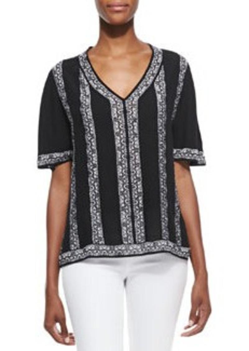 Nanette Lepore Sangria Knit V-Neck Top