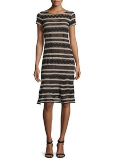 Nanette Lepore Short-Sleeve Chevron-Striped Dress