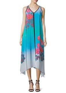 Nanette Lepore Sleeveless V-Neck Ombre Printed Midi Dress