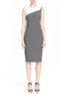 Narciso Rodriguez Foldover Detail Stretch Piqué Sheath Dress