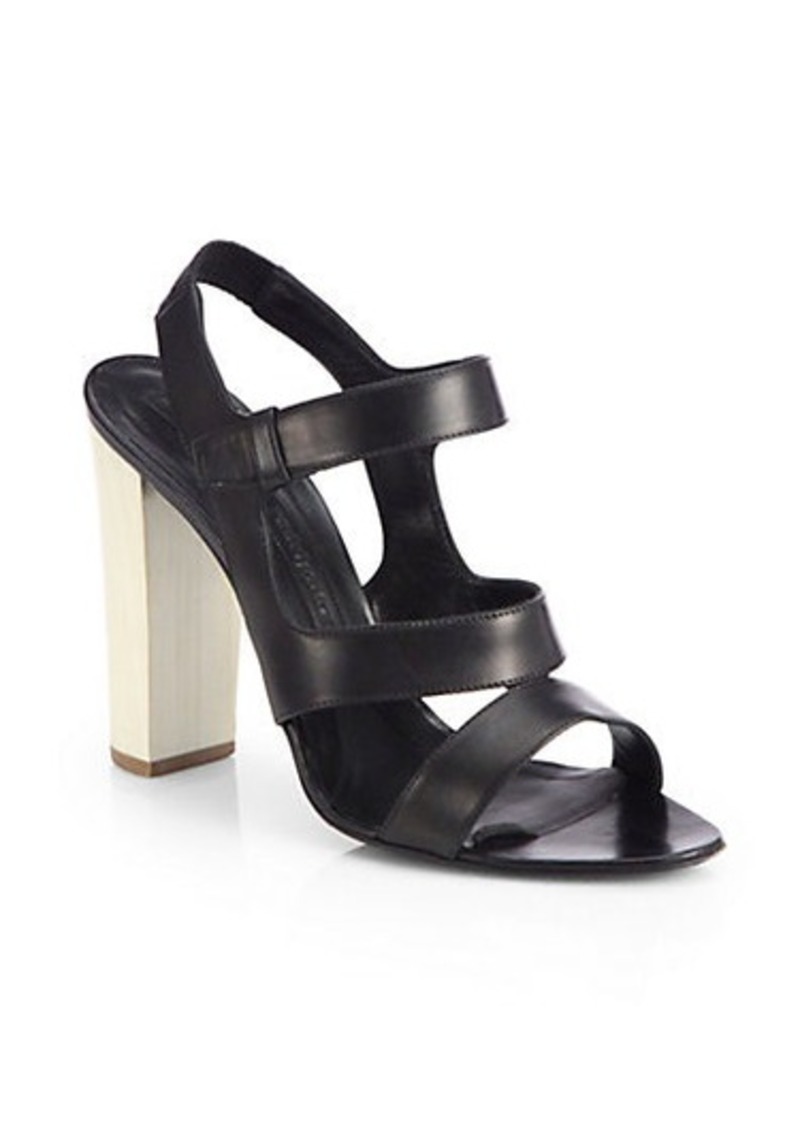Narciso Rodriguez Leather Chunky-Heel Sandals